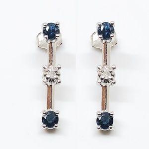 10k White Gold Blue Sapphire & Diamond Earrings